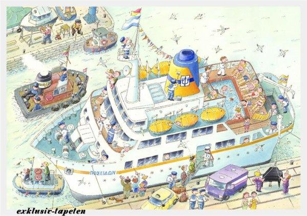 XXL wallpaper Boat 5 x 3,33 Meter (150g Vlies)