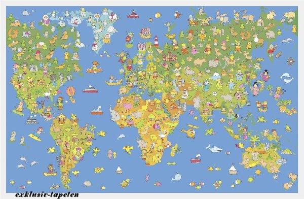 XXL wallpaper Worldmap 5 x 3,33 Meter (150g Vlies)