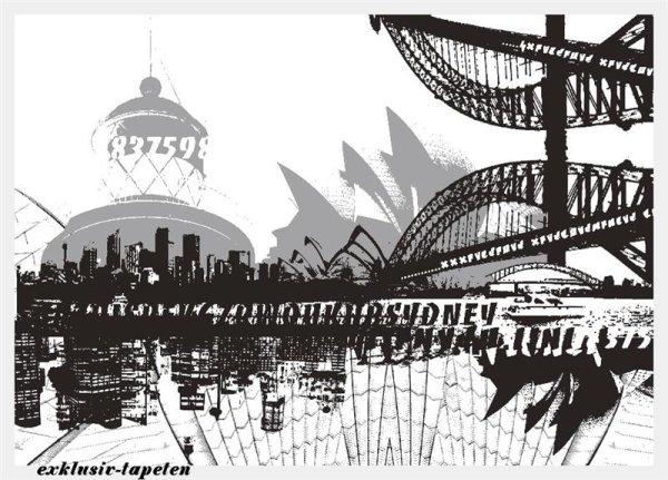 L wallpaper City Sydney 3 x 2,5 Meter (150g Vlies)