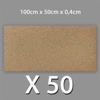 50 Korkplatten 4mm stark 0,5 x 1 Meter | 25m²