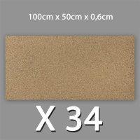 34 Korkplatten 6mm stark 0,5 x 1 Meter | 17m²