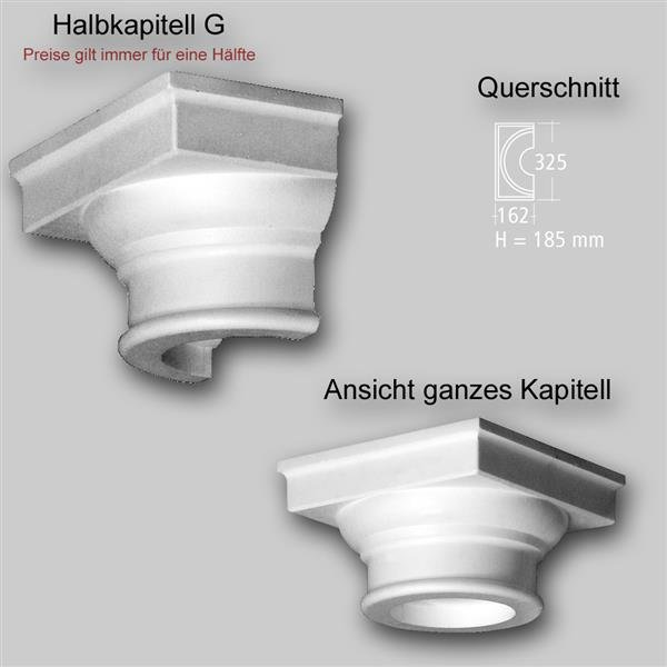 1/2 Kapitell G für dekorative Säule oder Halbsäule