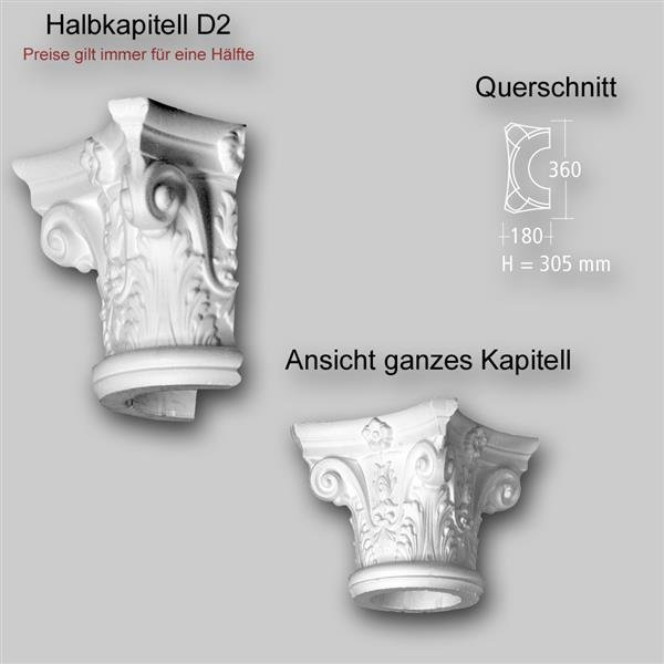 1/2 Kapitell D2 für dekorative Säule oder Halbsäule