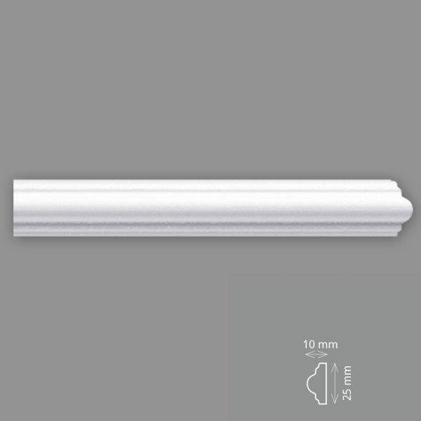 Wandleisten 2 Meter 25/10 mm HD Polymer überstreichbar