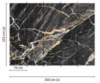 Fototapete 3,5 x 2,55 M. Black Gold Marble