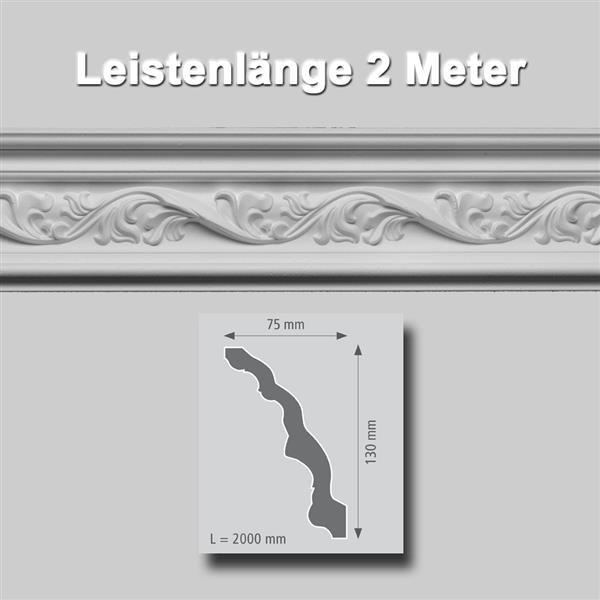Zierprofile extrudiert Polystyrol 75 x 130 mm