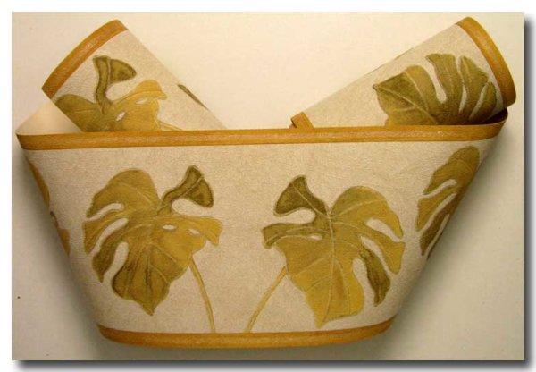 Borte Tapetenborte floral Gummibaum Blatt